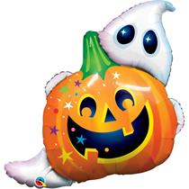 """Halloween Pumpkin & Ghost 33"""" Foil Balloon"""