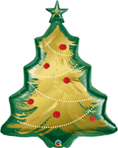 """Christmas Tree Brushed Gold 40"""" Foil Balloon"""