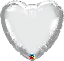 "Chrome Silver 18"" Heart Foil Balloon (Pkgd)"