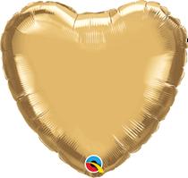 """Chrome Gold 18"""" Heart Foil Balloon (Pkgd)"""