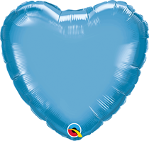 """Chrome Blue 18"""" Heart Foil Balloon (Pkgd)"""