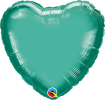 """Chrome Green 18"""" Heart Foil Balloon (Pkgd)"""