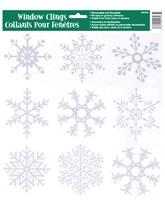 Glitter Snowflake Window Clings 9pk