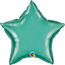 """Chrome Green 20"""" Star Foil Balloon (Pkgd)"""