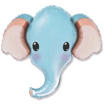 "Blue Elephant Head 39"" Jumbo Foil Balloon"