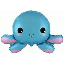 "Blue Happy Octopus 31"" Foil Balloon"