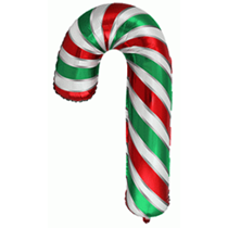"""Large Red & Green Candy Cane 39"""" Foil Balloon"""