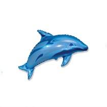 "Blue Dolphin 14"" Mini Shape Foil Balloon"