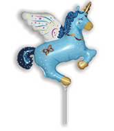 "Blue Flying Unicorn 16"" Air Fill Foil Balloon (Loose)"