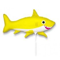 "Yellow Happy Shark 14"" Mini Shape Foil Balloon"