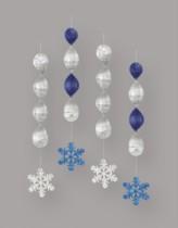 4 Hanging Snowflake Decorations