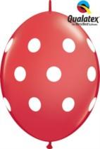 """12"""" Red Big Polka Dots Quick Link Latex Balloons - 50pk"""