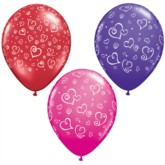 """11"""" Red, Pink and Purple Balloons With Love Hearts - 25pk"""