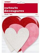 Glitter Heart Cut Out Decorations 6pk