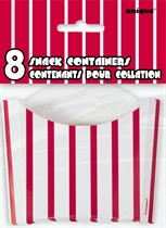 8 Red Striped Snack Boxes