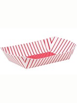 4 Red Striped Paper Snack Trays
