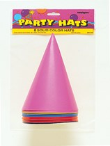 Plain Coloured Party Hats 8pk