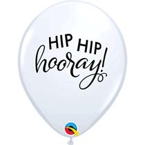 "White Hip Hip Hooray Script 11"" Latex Balloons 25pk"