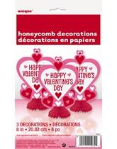 Valentine's Hearts Honeycomb Decorations 3pk