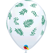"White Tropical Leaves 11"" Latex Balloons 25pk"