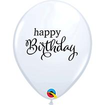 "White Happy Birthday Script 11"" Latex Balloons 6pk"