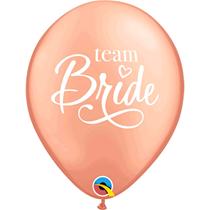"Rose Gold Team Bride 11"" Hen Party Latex Balloons 6pk"