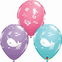 """Rose, Blue & Lilac Under The Sea 11"""" Latex Balloons 6pk"""