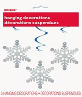 Snowflake Hanging Swirl Decorations 3pk