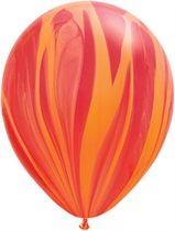 "Qualatex 11"" Red Orange Rainbow SuperAgate Latex Balloons 25pk"