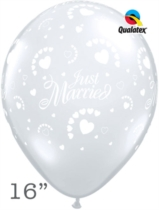 """Diamond Clear Just Married Hearts 16"""" Latex Balloons 50pk"""