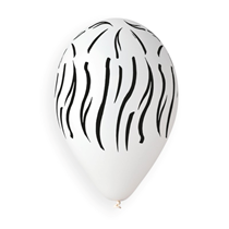 """Zebra Print White 12"""" Latex Balloons 50pk"""