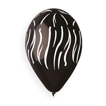 "Zebra Print Black 12"" Latex Balloons 50pk"