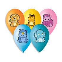 "Animal Colour Printed 13"" Latex Balloons 50pk"