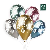 "Gemar Shiny Hibiscus Printed 11"" Latex Balloons 25pk"
