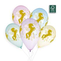 "Golden Unicorn Crystal 12"" Latex Balloons 50pk"