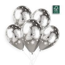 """Shiny Silver 25 Cosmic Stars 11"""" Latex Balloons 25pk"""