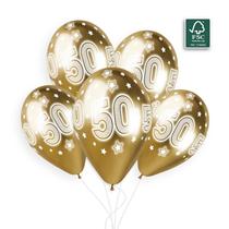 """Shiny Gold 50 Cosmic Stars 11"""" Latex Balloons 25pk"""