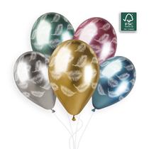 "Gemar Shiny Feather Printed 11"" Latex Balloons 25pk"