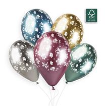"Gemar Shiny Printed Flower 12"" Latex Balloons 25pk"