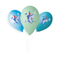 "Smiling Shark Colour Printed 13"" Latex Balloons 50pk"