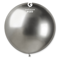 "Gemar Shiny Silver 2.5ft (31"") Latex Balloons 5pk"