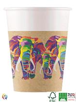 Wildlife Rainbow Elephant 200ml Paper Cups 8pk