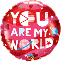 """Valentine's You Are My World 18"""" Foil Balloon"""