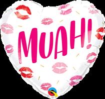"Valentine's Muah Kiss 18"" Heart Foil Balloon"
