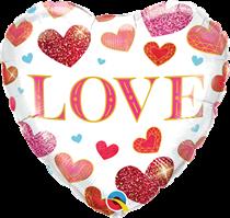 "Valentine's Love Jewel Hearts 18"" Foil Balloon"