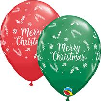 "Merry Christmas Evergreen Red & Green 11"" Latex Balloons 25pk"