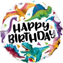 "Happy Birthday Colourful Dinosaurs 18"" Foil Balloon"