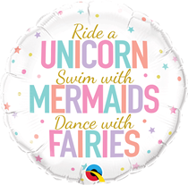 "Unicorn Mermaids Fairies 18"" Foil Balloon"