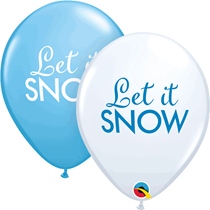 "Christmas Let It Snow Blue & White 11"" Latex 6pk"