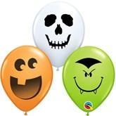 """Halloween Face Assortment 5"""" Latex Balloons 100pk"""